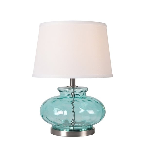 "Design Craft Jessup 21"" Table Lamp - Light Blue Glass"