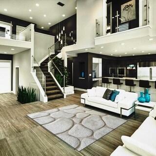 Ivory Rock Design Indoor Decor Rug - 5' x 7'