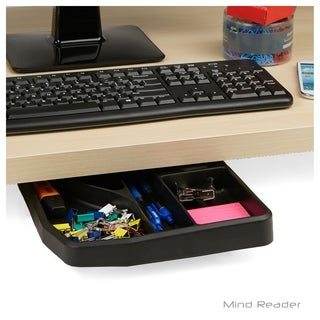 Mind Reader Under Desk Sliding Compartment Organizer, Black