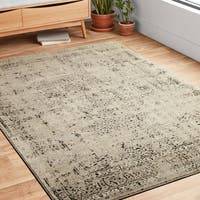 """Antique Inspired Vintage Stone/ Brown Distressed Round Rug - 7'7"""" x 7'7"""""""