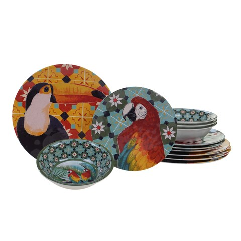 Certified International Paradise 12-piece Melamine Dinnerware Set