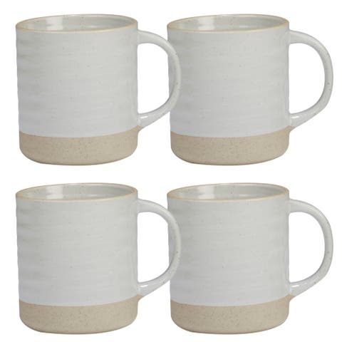 Certified International Artisan White 22-ounce Mugs (Set of 4)