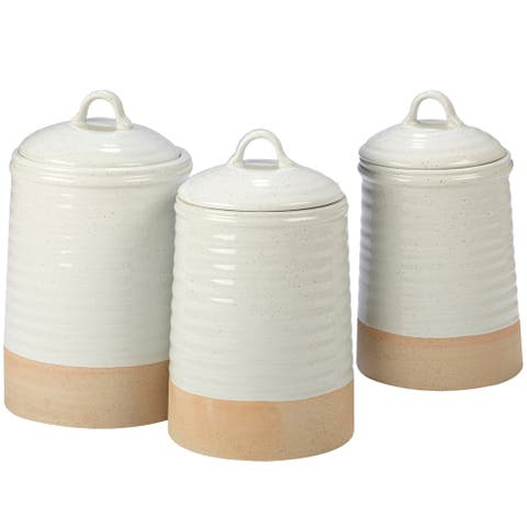 Certified International Artisan White and Natural 3-piece Canister Set