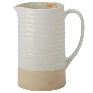 Certified International Artisan White and Natural 84-ounce Pitcher
