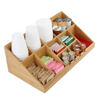 Mind Reader 11 Compartment Breakroom Coffee Condiment Organizer, Brown