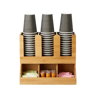 Mind Reader 6 Compartment Upright Coffee Condiment and Cup Organizer, Brown