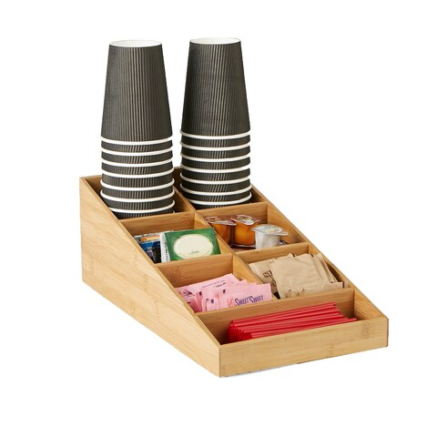 Mind Reader 7 Compartment Tea and Coffee Condiment Organizer, Brown