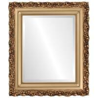 Venice Framed Round Mirror in Desert Gold - Brown/Dark Gold