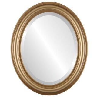 Philadelphia Framed Oval Mirror in Desert Gold - Brown/Dark Gold