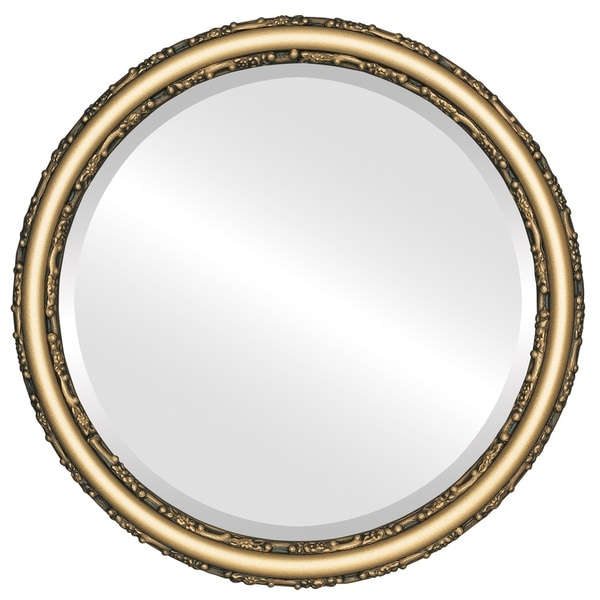 Shop Virginia Framed Round Mirror In Desert Gold Brown