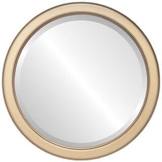 Toronto Framed Round Mirror in Desert Gold - Brown/Dark Gold