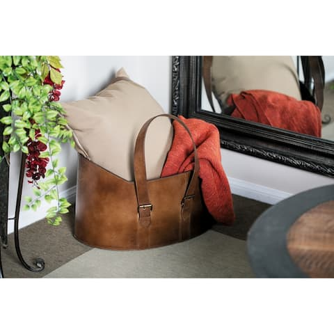 Set of 2 Rustic 12 and 13 Inch Leather Bucket Organizers by Studio 350
