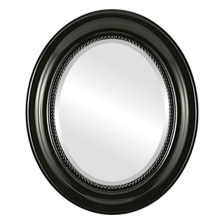 Heritage Framed Oval Mirror in Gloss Black