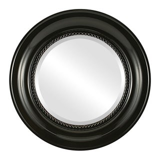 Heritage Framed Round Mirror in Gloss Black