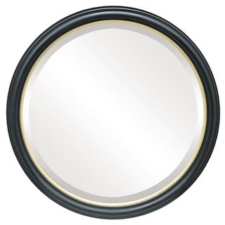 Hamilton Framed Round Mirror in Gloss Black with Gold Lip