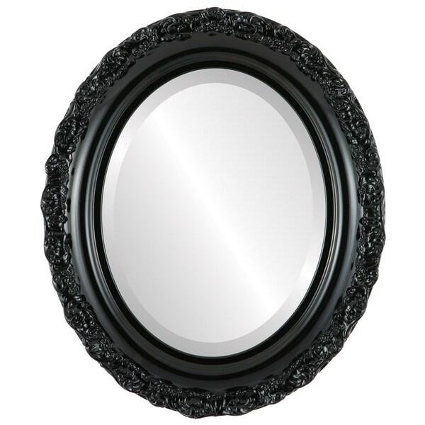 Venice Framed Oval Mirror in Gloss Black