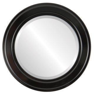 Wright Framed Round Mirror in Gloss Black
