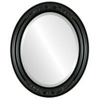 Florence Framed Oval Mirror in Gloss Black