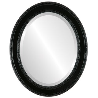 Monticello Framed Oval Mirror in Gloss Black