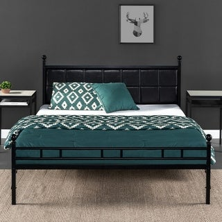 H Style Faux Leather Upholstered Bed Frame