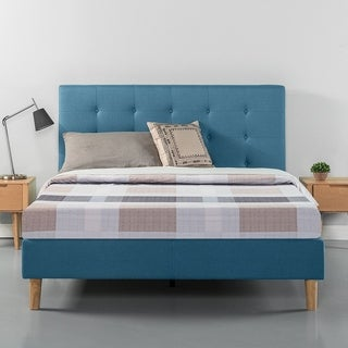 Priage Button Tufted Platform Bed - Blue