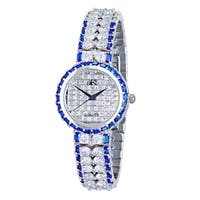 Adee Kaye Womens Rhodium Plated Crystal Watch-Silver tone/Clear&Blue