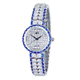 Adee Kaye Womens Rhodium Plated Crystal Watch-Silver tone/Clear&Blue