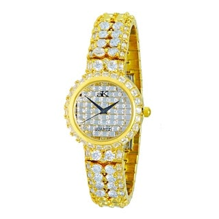 Adee Kaye Womens Gold tone Plated Crystal Watch-Gold tone/Clear