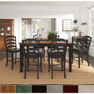 Elena Antique Black Extendable Counter Height Dining Set With French Ladder  Back Chairs By INSPIRE Q