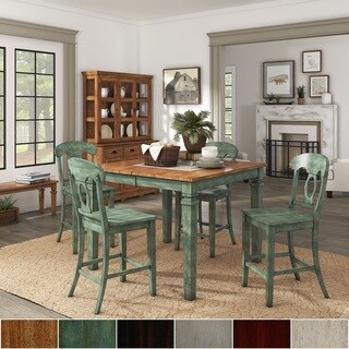 Elena Antique Sage Green Extendable Counter Height Dining Set with Napoleon Back Chairs by iNSPIRE Q Classic
