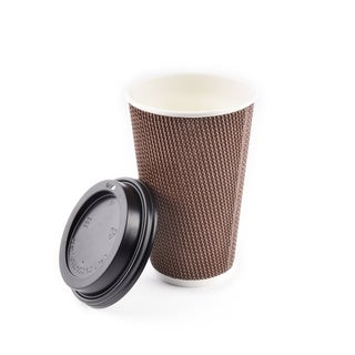 16 oz Double Walled Hot Cups with Lids [Brown Geometric] (340)