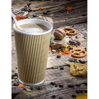 16 oz Kraft Double Walled Hot Cups (500)