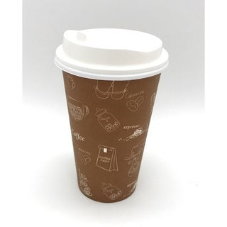 16 oz Single Wall Hot Paper Cups with White Lids (1000)