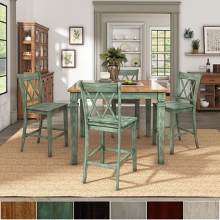 Elena Antique Sage Green Extendable Counter Height Dining Set with Double X Back Chairs by iNSPIRE Q Classic