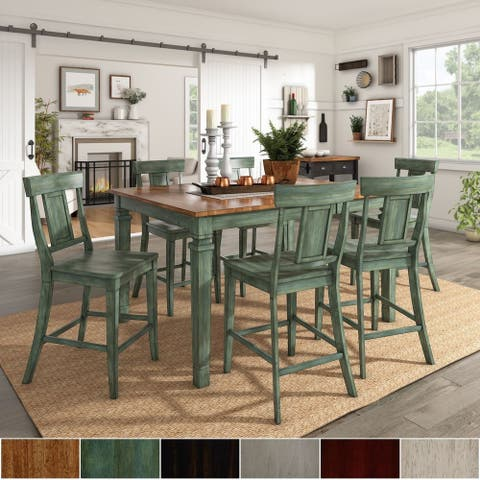 Elena Antique Sage Green Extendable Counter Height Dining Set with Panel Back Chairs by iNSPIRE Q Classic