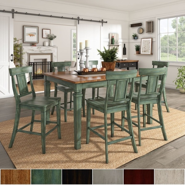 50 Cool And Creative Shabby Chic Dining Rooms: Shop Elena Antique Sage Green Extendable Counter Height