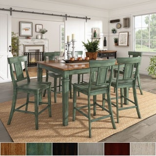 Elena Antique Sage Green Extendable Counter Height Dining Set With Panel  Back Chairs By INSPIRE Q