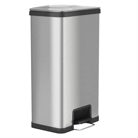 iTouchless AirStep 18 Gallon Step-On Kitchen Stainless Steel, Trash Can with Odor Control System, Silent and Gentle Lid Close.