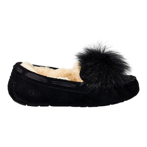 54f1a5ec42e Shop Women s UGG Dakota Pom Pom Moccasin Black Silkee Suede - Free Shipping  Today - Overstock - 18041650