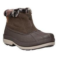 Women's Propet Lumi Ankle Zip Duck Boot Brown Suede