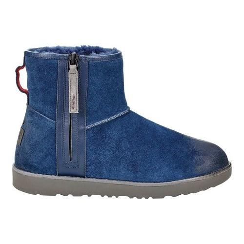 Shop Mens Ugg Classic Mini Zip Waterproof Boot New Navy Burnished