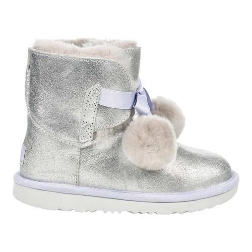 84cf3987948 Children's UGG Gita Pom Pom Bootie Silver Metallic Leather