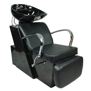 Backwash Ceramic Shampoo Bowl Sink Chair Station Salon - Black