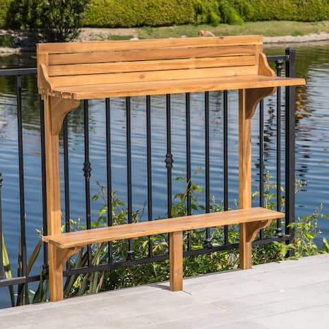 Caribbean Outdoor Acacia Wood Balcony Bar Table by Christopher Knight Home