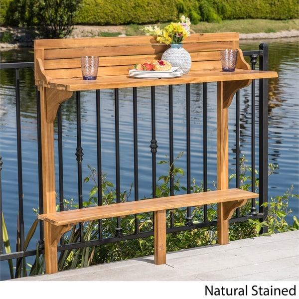 Shop Caribbean Outdoor Acacia Wood Balcony Bar Table By Christopher