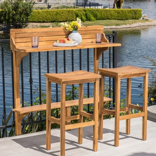 Caribbean Outdoor 3-piece Acacia Wood Balcony Bar Set by Christopher Knight Home