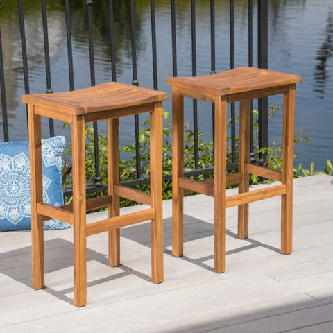Caribbean Outdoor 30-inch Acacia Wood Barstool (Set of 2) by Christopher Knight Home