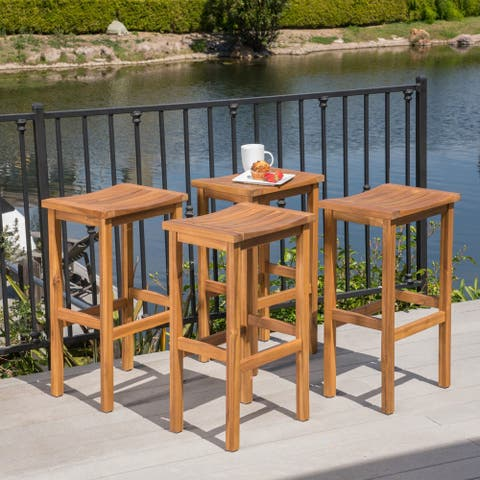 Caribbean Outdoor 30-inch Acacia Wood Barstool (Set of 4) by Christopher Knight Home