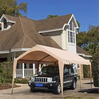 Abba Patio 10 x 20-Feet Domain Outdoor Carport Canopy with 6 Steel Legs, Beige