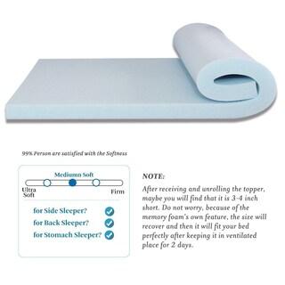 Cr Full XL Size 2 Inch Memory Foam Gel-Infused Mattress Topper